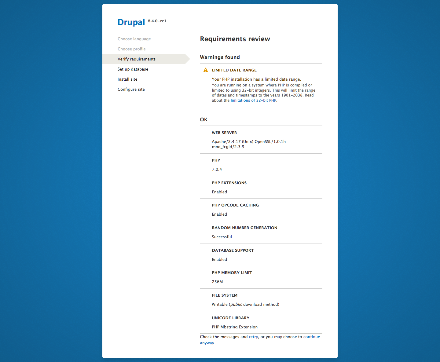 Requirements review for Drupal 8.4.0-rc1